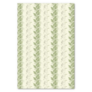 Rows of Olive Green Leaves on CreamTissue Paper