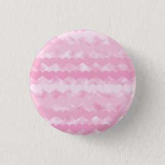 Rows of Pink Hearts Pattern on Pink Cloudy Design 1 Inch Round Button