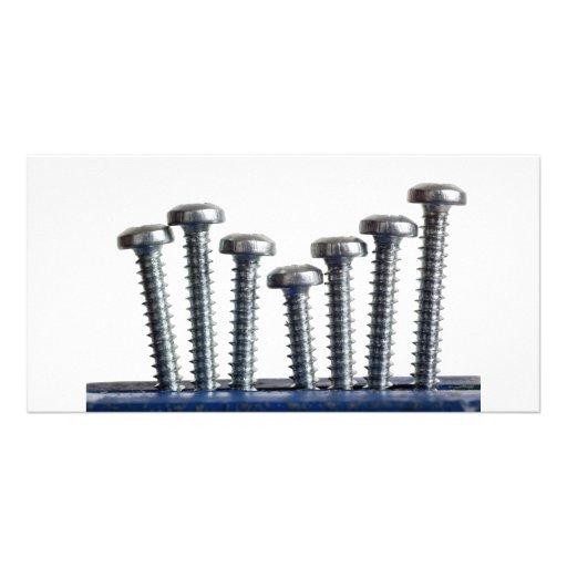 Rows of screws custom photo card