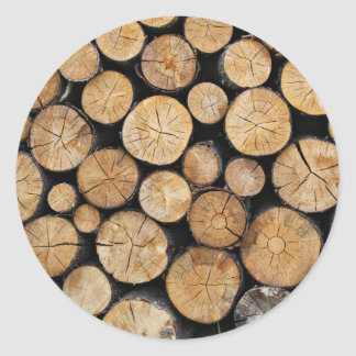 Rows of wood in stack round sticker