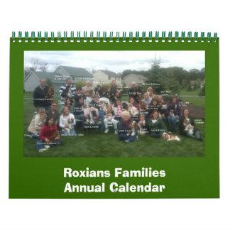 Roxians Families Annual Callendar Wall Calendar