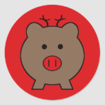 Roy the Christmas Pig Round Sticker