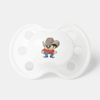 Roy the small cowboy calms the baby down pacifier