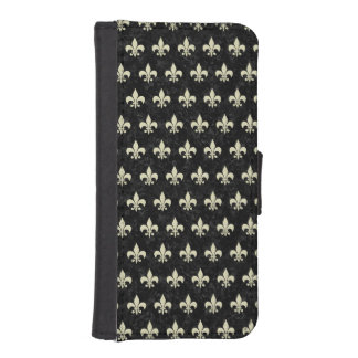 ROYAL1 BLACK MARBLE & BEIGE LINEN (R) iPhone SE/5/5s WALLET CASE