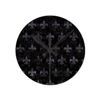 ROYAL1 BLACK MARBLE & BLACK WATERCOLOR (R) ROUND CLOCK