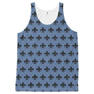 ROYAL1 BLACK MARBLE & BLUE DENIM All-Over-Print TANK TOP