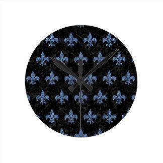 ROYAL1 BLACK MARBLE & BLUE DENIM (R) ROUND CLOCK