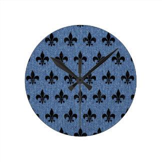ROYAL1 BLACK MARBLE & BLUE DENIM ROUND CLOCK