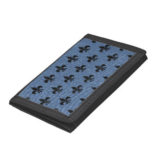 ROYAL1 BLACK MARBLE & BLUE DENIM TRI-FOLD WALLETS