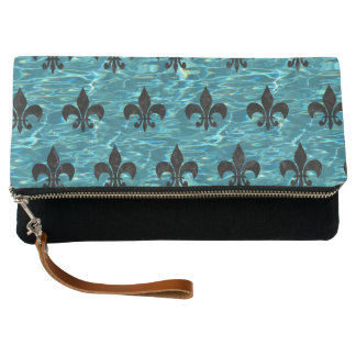 ROYAL1 BLACK MARBLE & BLUE-GREEN WATER CLUTCH