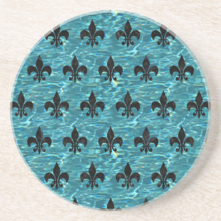 ROYAL1 BLACK MARBLE & BLUE-GREEN WATER COASTER