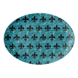 ROYAL1 BLACK MARBLE & BLUE-GREEN WATER PORCELAIN SERVING PLATTER