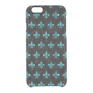 ROYAL1 BLACK MARBLE & BLUE-GREEN WATER (R) CLEAR iPhone 6/6S CASE