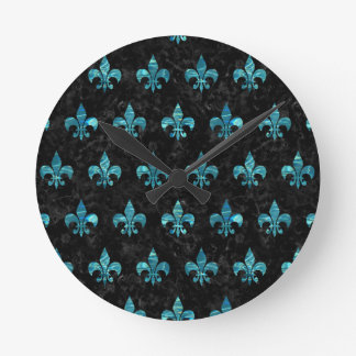 ROYAL1 BLACK MARBLE & BLUE-GREEN WATER (R) ROUND CLOCK