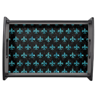 ROYAL1 BLACK MARBLE & BLUE-GREEN WATER (R) SERVING TRAY