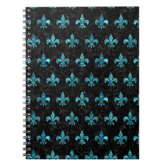 ROYAL1 BLACK MARBLE & BLUE-GREEN WATER (R) SPIRAL NOTEBOOK