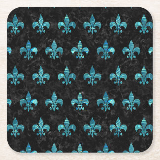 ROYAL1 BLACK MARBLE & BLUE-GREEN WATER (R) SQUARE PAPER COASTER
