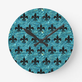 ROYAL1 BLACK MARBLE & BLUE-GREEN WATER ROUND CLOCK
