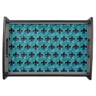 ROYAL1 BLACK MARBLE & BLUE-GREEN WATER SERVING TRAY