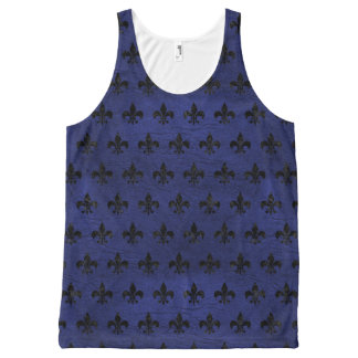 ROYAL1 BLACK MARBLE & BLUE LEATHER All-Over-Print TANK TOP