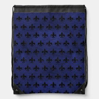 ROYAL1 BLACK MARBLE & BLUE LEATHER DRAWSTRING BAG