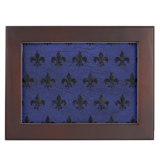 ROYAL1 BLACK MARBLE & BLUE LEATHER KEEPSAKE BOX