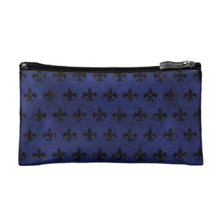 ROYAL1 BLACK MARBLE & BLUE LEATHER MAKEUP BAGS
