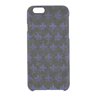 ROYAL1 BLACK MARBLE & BLUE LEATHER (R) CLEAR iPhone 6/6S CASE