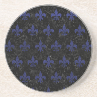 ROYAL1 BLACK MARBLE & BLUE LEATHER (R) COASTER