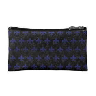 ROYAL1 BLACK MARBLE & BLUE LEATHER (R) COSMETIC BAG