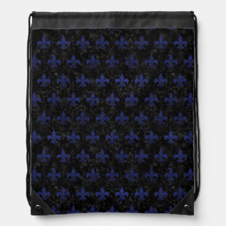 ROYAL1 BLACK MARBLE & BLUE LEATHER (R) DRAWSTRING BAG