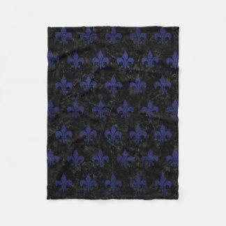 ROYAL1 BLACK MARBLE & BLUE LEATHER (R) FLEECE BLANKET