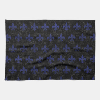 ROYAL1 BLACK MARBLE & BLUE LEATHER (R) KITCHEN TOWELS