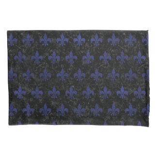 ROYAL1 BLACK MARBLE & BLUE LEATHER (R) PILLOWCASE