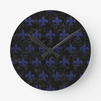 ROYAL1 BLACK MARBLE & BLUE LEATHER (R) ROUND CLOCK