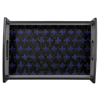 ROYAL1 BLACK MARBLE & BLUE LEATHER (R) SERVING TRAY