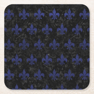 ROYAL1 BLACK MARBLE & BLUE LEATHER (R) SQUARE PAPER COASTER