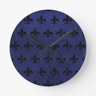 ROYAL1 BLACK MARBLE & BLUE LEATHER ROUND CLOCK