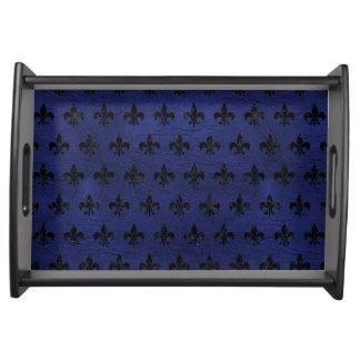 ROYAL1 BLACK MARBLE & BLUE LEATHER SERVING TRAY