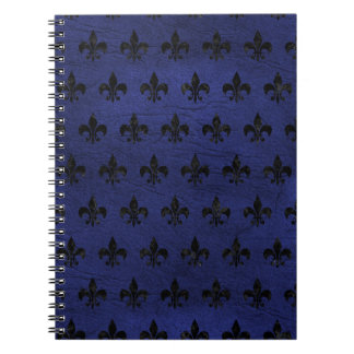 ROYAL1 BLACK MARBLE & BLUE LEATHER SPIRAL NOTEBOOK