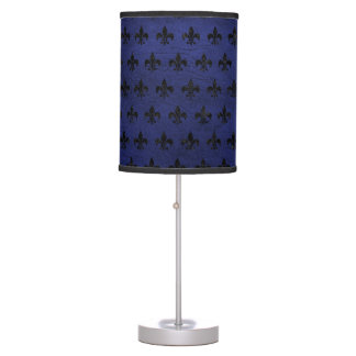 ROYAL1 BLACK MARBLE & BLUE LEATHER TABLE LAMP