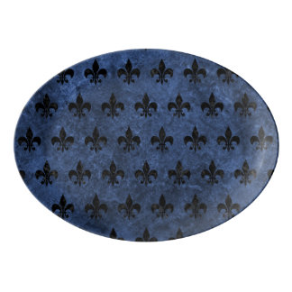 ROYAL1 BLACK MARBLE & BLUE STONE PORCELAIN SERVING PLATTER