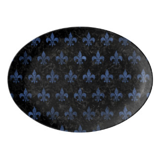 ROYAL1 BLACK MARBLE & BLUE STONE (R) PORCELAIN SERVING PLATTER