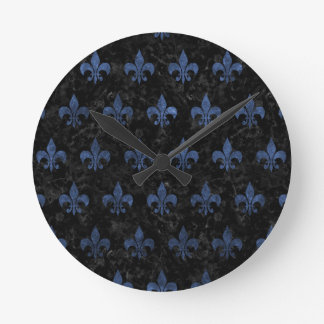 ROYAL1 BLACK MARBLE & BLUE STONE (R) ROUND CLOCK