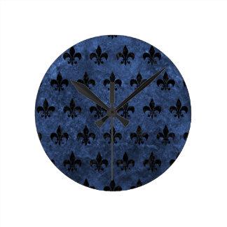 ROYAL1 BLACK MARBLE & BLUE STONE ROUND CLOCK