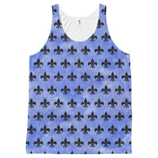 ROYAL1 BLACK MARBLE & BLUE WATERCOLOR All-Over-Print TANK TOP