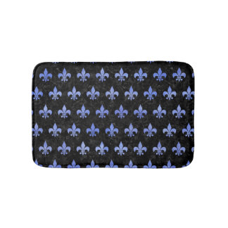 ROYAL1 BLACK MARBLE & BLUE WATERCOLOR (R) BATH MAT