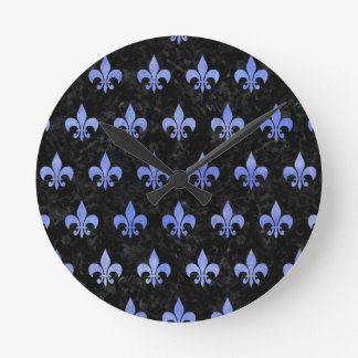 ROYAL1 BLACK MARBLE & BLUE WATERCOLOR (R) ROUND CLOCK
