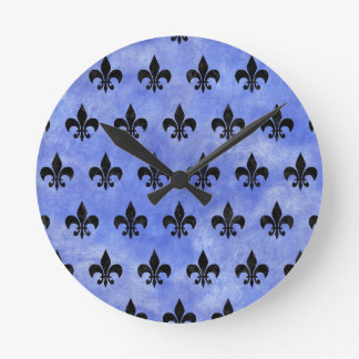 ROYAL1 BLACK MARBLE & BLUE WATERCOLOR ROUND CLOCK