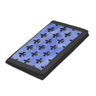 ROYAL1 BLACK MARBLE & BLUE WATERCOLOR TRIFOLD WALLETS